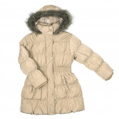 obrázek Béžovo-zlatý zimní kabát