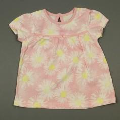 obrázek Bavlněné růžové tričko s kytičkami