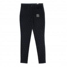 obrázek Tmavě modré elastické riflové kalhoty s drobným vzorem